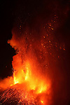 Nighttime paroxysmal eruption of Mount Etna Volcano, Italy, 2012.