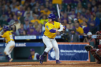 Zack Mathis (17) of the LSU Tigers at bat against the Oklahoma Sooners in game seven of the 2020 Shriners Hospitals for Children College Classic at Minute Maid Park on March 1, 2020 in Houston, Texas. The Sooners defeated the Tigers 1-0. (Brian Westerholt/Four Seam Images)