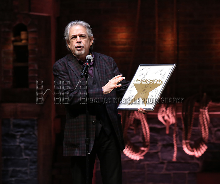 Luis Miranda and eduHAM present a retirement gift to Chancellor of NYC Department of Education Carmen Farina from the cast of Broadway's 'Hamilton' at The Richard Rodgers Theatre on April 25, 2018 in New York City.