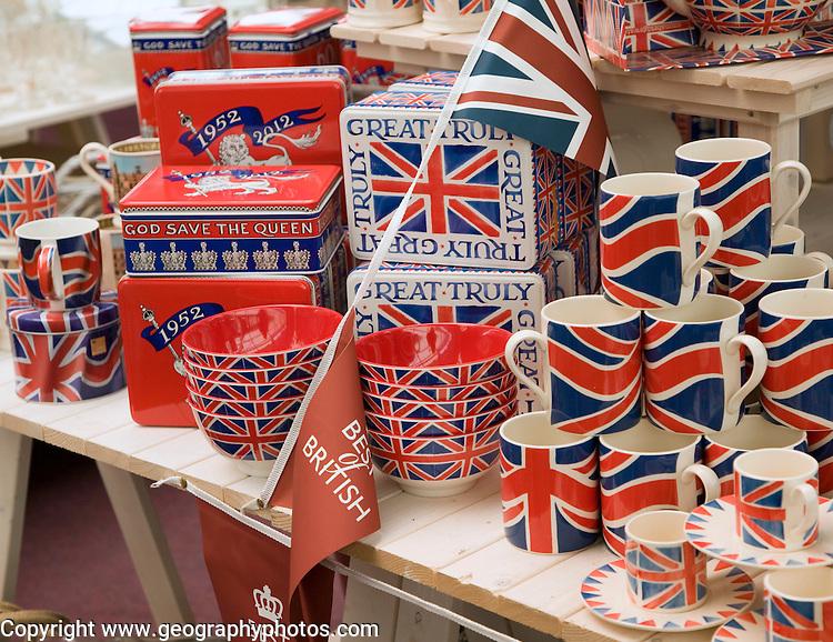 Royal Jubilee memorabilia products on display in shop, June 2012