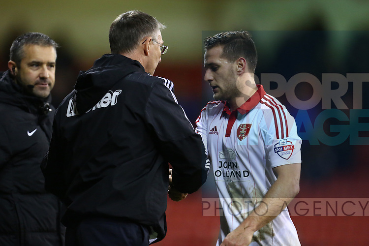 Sheffield United's manager, Nigel Adkins thanks Billy Sharp as he is substituted - Sheffield United vs Bradford City - Skybet League One - Bramall Lane - Sheffield - 28/12/2015 Pic Philip Oldham/SportImage