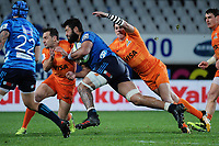 Akira Ioane takes the ball up during the Super Rugby match between the Blues and Jaguares at Eden Park in Auckland, New Zealand on Friday, 28 April 2018. Photo: Dave Lintott / lintottphoto.co.nz