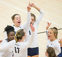 NWA Democrat-Gazette/BEN GOFF @NWABENGOFF<br /> Bentonville West players celebrate a point against Rogers Heritage in the 4th set Thursday, Sept. 13, 2018, at War Eagle Arena in Rogers.