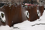 Tanner Springs Park in snow, Pearl District, Portland, Oregon