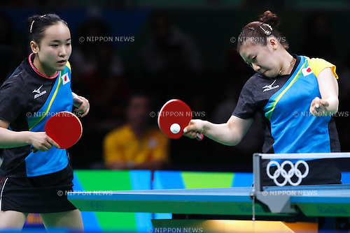 Ai Fukuhara &amp; Mima Ito (JPN), <br /> AUGUST 14, 2016 - Table Tennis : <br /> Women's Team Semi-final <br /> at Riocentro - Pavilion 3 <br /> during the Rio 2016 Olympic Games in Rio de Janeiro, Brazil. <br /> (Photo by Sho Tamura/AFLO SPORT)