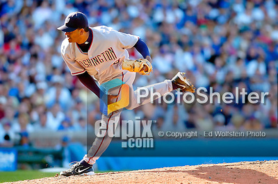 2 July 2005: Hector Carrasco, relief pitcher for the Washington Nationals, on the mound during a game against the Chicago Cubs. The Nationals defeated the Cubs 4-2 in front of 40,488 at Wrigley Field in Chicago, IL. Mandatory Photo Credit: Ed Wolfstein