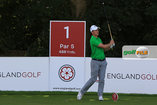 John-Ross Galbraith (Ireland) on the 1st tee during Day 2 Singles of the Home Internationals at Moortown Golf Club, Leeds, England. 17/08/2017<br /> Picture: Golffile | Thos Caffrey<br /> <br /> All photo usage must carry mandatory copyright credit     (&copy; Golffile | Thos Caffrey)