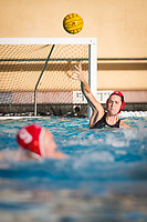 STANFORD, CA - February 4, 2018: Emalia Eichelberger at Avery Aquatic Center. The Stanford Cardinal defeated Long Beach State 14-2.