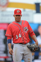 Harrisburg Senators infielder Adrian Sanchez (34) during the game against the Trenton Thunder at ARM & HAMMER Park on May 21, 2014 in Trenton, New Jersey.  Harrisburg defeated Trenton 9-0.  (Tomasso DeRosa/Four Seam Images)