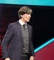 Bundestrainer Joachim Loew (Deutschland Germany) nicht glücklich der AUslosung beim Verlassen der Bühne - 30.11.2019: UEFA EURO2020 Auslosung, Romexpo Bukarest, DISCLAIMER: UEFA regulations prohibit any use of photographs as image sequences and/or quasi-video.