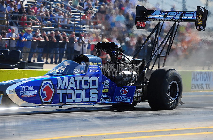 Sept. 23, 2011; Ennis, TX, USA: NHRA top fuel dragster driver Antron Brown during qualifying for the Fall Nationals at the Texas Motorplex. Mandatory Credit: Mark J. Rebilas-