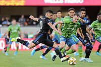 SAN JOSE, CA - SEPTEMBER 29: Cristian Espinoza #10 of the San Jose Earthquakes during a Major League Soccer (MLS) match between the San Jose Earthquakes and the Seattle Sounders on September 29, 2019 at Avaya Stadium in San Jose, California.