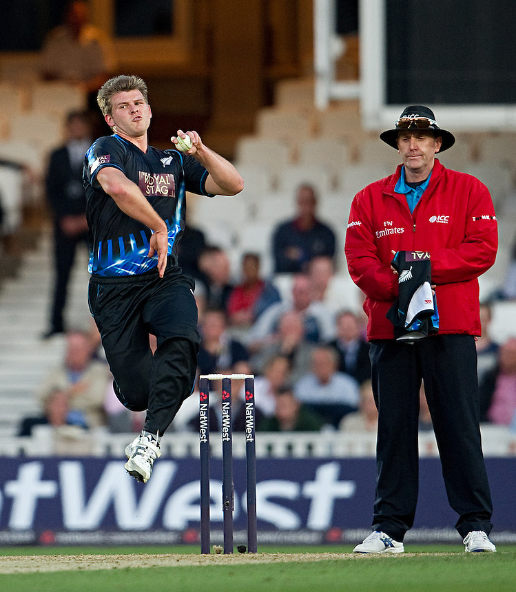 New Zealand's Corey Anderson bowling in the first T20 game against England<br /> <br />  (Photo by Ashley Western/CameraSport) <br /> <br /> International Cricket - NatWest International T20 Series - England v New  Zealand - Tuesday 25th June 2013 - The Kia Oval, London <br /> <br />  &copy; CameraSport - 43 Linden Ave. Countesthorpe. Leicester. England. LE8 5PG - Tel: +44 (0) 116 277 4147 - admin@camerasport.com - www.camerasport.com