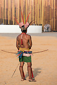 A Javae archer waits to shoot. International Indigenous Games, in the city of Palmas, Tocantins State, Brazil. Photo © Sue Cunningham, pictures@scphotographic.com 31st October 2015