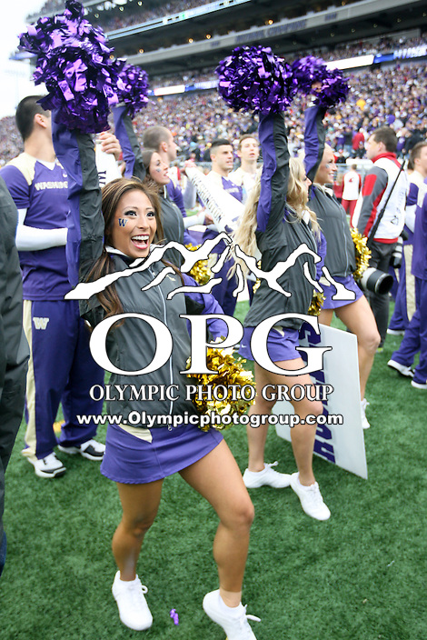 2013-11-29: Washington cheer member Tiffany Toyohara during the Apple Cup against Washington State.  Washington won 27-17 over Washington State in Seattle, WA.