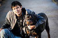 """A young man asked if I would take his picture with his dog, Diesel, """"like the truck.""""  A chance encounter at the San Leandro Marina on San Francisco Bay."""