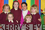 Cara O'Shea, Maura Mahoney, Carla Murphy, Ellie O'Connell and Megan Mahoney with their junior infants teacher Miss O'Connell at St Josephs girls primary school in Caherciveen.   Copyright Kerry's Eye 2008