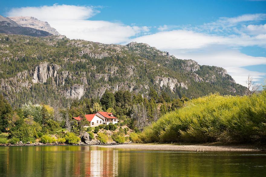 El Encuentro Lodge sits above the Rio Futaleufú near Esquel, Argentina.