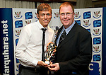 St Johnstone FC Players Awards Night...01.05.11  Lovatt Hotel Perth..Murray Davidson being presented with the We Are Perth Player of the Year Award by Gordon Muir.Picture by Graeme Hart..Copyright Perthshire Picture Agency.Tel: 01738 623350  Mobile: 07990 594431