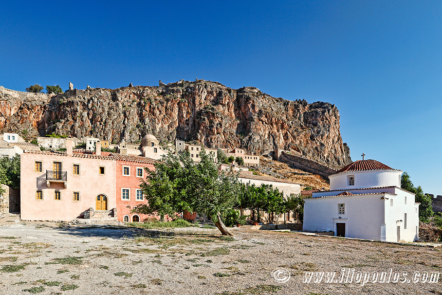 Panagia Chrisafitissa church in the Byzantine castle-town of Monemvasia in Greece