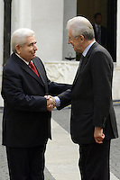 Roma, 17 Ottobre 2012.Palazzo Chigi.Incontro tra il Primo Ministro Mario Monti con il Presidente della Repubblica di Cipro, Demetris Christofias.