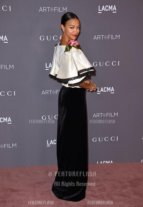 Zoe Saldana at the 2017 LACMA Art+Film Gala at the Los Angeles County Museum of Art, Los Angeles, USA 04 Nov. 2017<br /> Picture: Paul Smith/Featureflash/SilverHub 0208 004 5359 sales@silverhubmedia.com