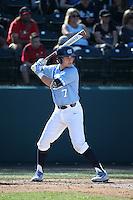 Logan Warmoth (7) of the North Carolina Tar Heels bats against the UCLA Bruins at Jackie Robinson Stadium on February 20, 2016 in Los Angeles, California. UCLA defeated North Carolina, 6-5. (Larry Goren/Four Seam Images)