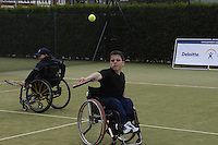 Queens Club, GREAT BRITAIN,   Wheel chair Tennis, Jon SMITH, playing the shot,  before the  press Conference to announce the joint initiative between British Paralympic Association and Deloitte  of 'www.Parasport.org.uk' online information service, on Thur's.  03.05.2007. London. [Credit: Peter Spurrier/Intersport Images]