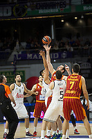 Real Madrid´s Gustavo Ayon and Rudy Fernandez and Galatasaray´s Maric and Erceg during 2014-15 Euroleague Basketball match between Real Madrid and Galatasaray at Palacio de los Deportes stadium in Madrid, Spain. January 08, 2015. (ALTERPHOTOS/Luis Fernandez) /NortePhoto /NortePhoto.com