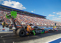 Sep 18, 2015; Concord, NC, USA; NHRA top fuel driver Clay Millican during qualifying for the Carolina Nationals at zMax Dragway. Mandatory Credit: Mark J. Rebilas-USA TODAY Sports