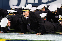 Annapolis, MD - OCT 8, 2016: Navy Midshipmen cadets do push up's after a touchdown during game between Houston and Navy at Navy-Marine Corps Memorial Stadium Annapolis, MD. The Midshipmen upset #6 Houston 46-40. (Photo by Phil Peters/Media Images International)