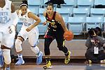 05 January 2014: Maryland's Alyssa Thomas (25) and North Carolina's Allisha Gray (15). The University of North Carolina Tar Heels played the University of Maryland Terrapins in an NCAA Division I women's basketball game at Carmichael Arena in Chapel Hill, North Carolina. Maryland won the game 79-70.