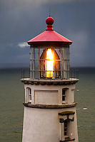 A storm approaches the Heceta Head Lighthouse along the Oregon coast north of the town of Florence.