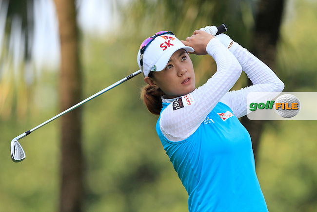 Na Yeon Choi (KOR) on the 2nd tee during Round 4 of the HSBC Women's Champions at the Sentosa Golf Club, The Serapong Course in Singapore on Sunday 8th March 2015.<br /> Picture:  Thos Caffrey / www.golffile.ie