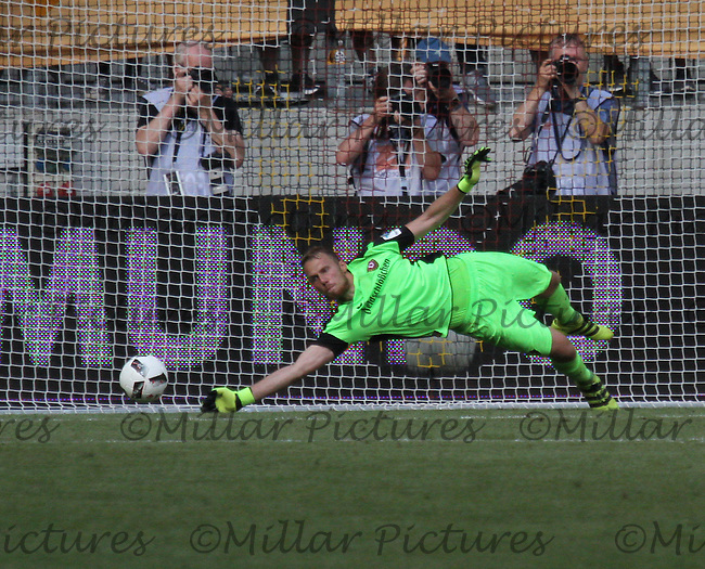 Marvin Schwäbe saves the penalty of Ulisses García in the penalty shootout in the Dynamo Dresden v Werder Bremen match in the Bundeswehr Karriere Cup Dresden 2016 played at the DDV Stadion, Dresden on 30.7.16.