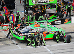 Mark Martin, driver of the (5) GoDaddy.com Chevrolet, makes a pit stop during the Samsung Mobile 500 Sprint Cup race at Texas Motor Speedway in Fort Worth,Texas.