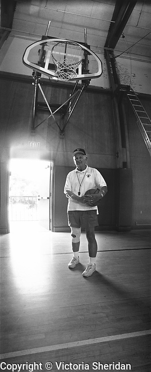 72  year old basketball coach Elio Abrami part of the Face of Labor portrait series. 1999 (Photo/Victoria Sheridan)