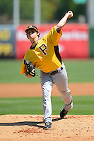 Pittsburgh Pirates pitcher Jeff Locke #49 during a Spring Training game against the New York Yankees at Legends Field on March 28, 2013 in Tampa, Florida.  (Mike Janes/Four Seam Images)
