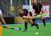 Action from the 2017 Jenny Hair Cup girls hockey match between Marlborough Girls' College (white and yellow) and Waiopehu College (purple and black) at Hockey Manawatu Twin Turfs in Palmerston North, New Zealand on Wednesday, 6 September 2017. Photo: Dave Lintott / lintottphoto.co.nz