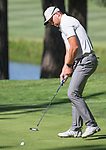Adam Thielen sinks a putt on the third hole during the American Century Championship at Edgewood Tahoe Golf Course in Stateline, Nevada, Saturday, July 14, 2018.