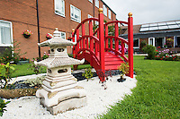 Japanese bridge made at Parc prison for Cwrt Anghorfa sheltered housing