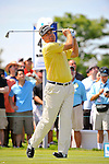 27 August 2009: Kenny Perry tees off on the 4th hole during the first round of The Barclays PGA Playoffs at Liberty National Golf Course in Jersey City, New Jersey.
