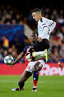 5th November 2019; Mestalla, Valencia, Spain; UEFA Champions League Football,Valencia versus Lille; Rodrigo Moreno of Valencia CF Duels with Boubakary Soumare - Editorial Use