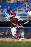 Batavia Muckdogs second baseman Micah Brown (55) hits a single during a game against the Tri-City ValleyCats on July 16, 2017 at Dwyer Stadium in Batavia, New York.  Tri-City defeated Batavia 13-8.  (Mike Janes/Four Seam Images)