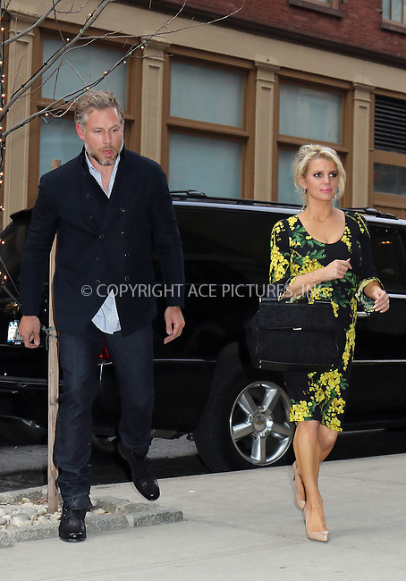 WWW.ACEPIXS.COM<br /> <br /> March 13 2015, New York City<br /> <br /> Singer Jessica Simpson and her husband Eric Johnson arriving at a downtown hotel on March 13 2015 in New York City<br /> <br /> By Line: Philip Vaughan/ACE Pictures<br /> <br /> ACE Pictures, Inc.<br /> tel: 646 769 0430<br /> Email: info@acepixs.com<br /> www.acepixs.com