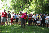 4th June 2017, Dublin, OH, USA;  Phil Mickelson hits his second shot out of the rough on the second hole during the Memorial Tournament - Final Round at Muirfield Village Golf Club in Dublin, Ohio