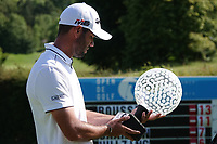 Robin Roussel (FRA) looks at the trophy after the final round of the Hauts de France-Pas de Calais Golf Open, Aa Saint-Omer GC, Saint- Omer, France. 16/06/2019<br /> Picture: Golffile | Phil Inglis<br /> <br /> <br /> All photo usage must carry mandatory copyright credit (© Golffile | Phil Inglis)
