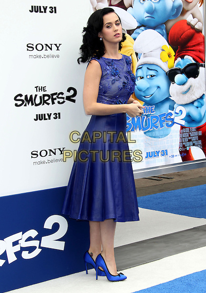 Katy Perry<br /> &quot;Smurfs 2&quot; Los Angeles Premiere held at the Regency Village Theatre, Westwood, California, USA. <br /> July 28th, 2013 <br /> full length blue lace dress leather skirt sleeveless applique <br /> CAP/ADM/RE<br /> &copy;Russ Elliot/AdMedia/Capital Pictures