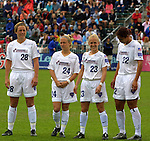 5 April 2003: The Little twins, Jacqui Little (24) and Skylar Little (23), between Abby Wambach (28) and Steffi Jones (22). The Washington Freedom defeated the Carolina Courage 2-1 at SAS Stadium in Cary, NC in a regular season WUSA game.
