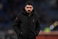 Gennaro Gattuso of AC Milan ahead the Serie A 2018/2019 football match between AS Roma and AC Milan at stadio Olimpico, Roma, February 3, 2019 <br />  Foto Andrea Staccioli / Insidefoto